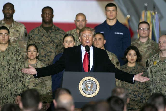 Discours de Donald Trump sur la base aérienne d'Andrews, dans le Maryland, le 20décembre.