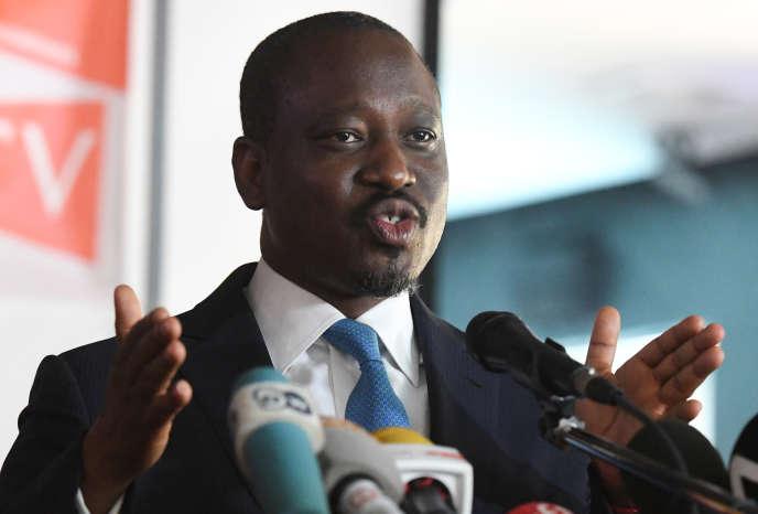 Guillaume Soro s'exprime lors du lancement d'un nouveau mouvement, appelé Comité politique, une semaine après sa démission du poste de président de l'Assemblée nationale ivoirienne, le 15février2019, à Abidjan.