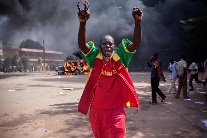 Manifestation à Ouagadougou lors de l'insurrection d'octobre et novembre2014.