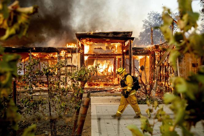 L'incendie «Kincade Fire» à Healdsburg, en Californie, le 27 octobre.Les feux d'octobre-novembre dans l'Etat américain ont causé 25 milliards de dollars de dégâts.