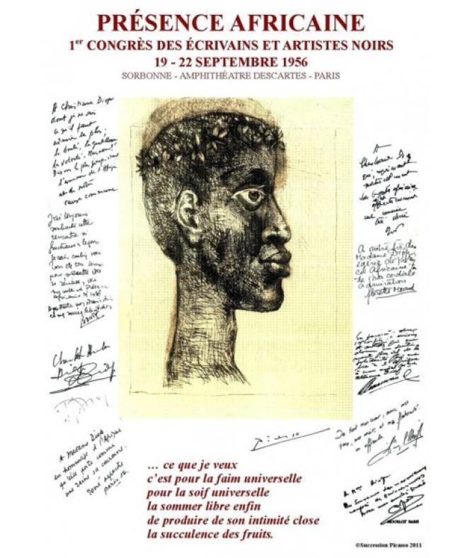 Le peintre Pablo Picasso, en soutien à la lutte de « l'homme noir universel», a dessiné l'affiche du premier Congrès des écrivains et artistes noirs qui se déroula à la Sorbonne, à Paris, du 19 au 22 septembre 1956.