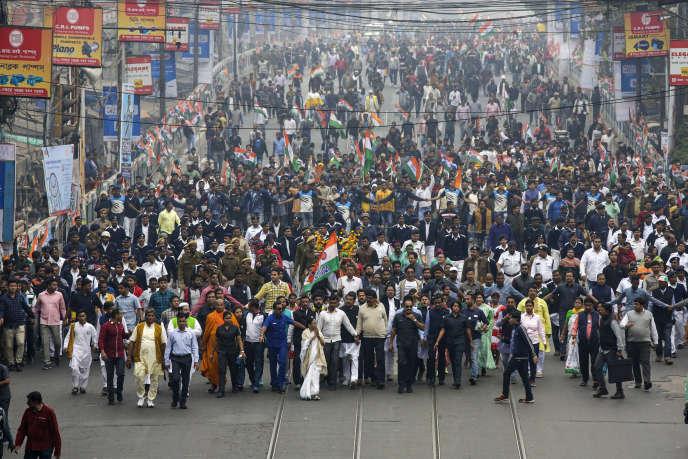 Un rassemblement de protestation contre la loi sur la citoyenneté, à Calcutta (Inde), le jeudi 26 décembre 2019.