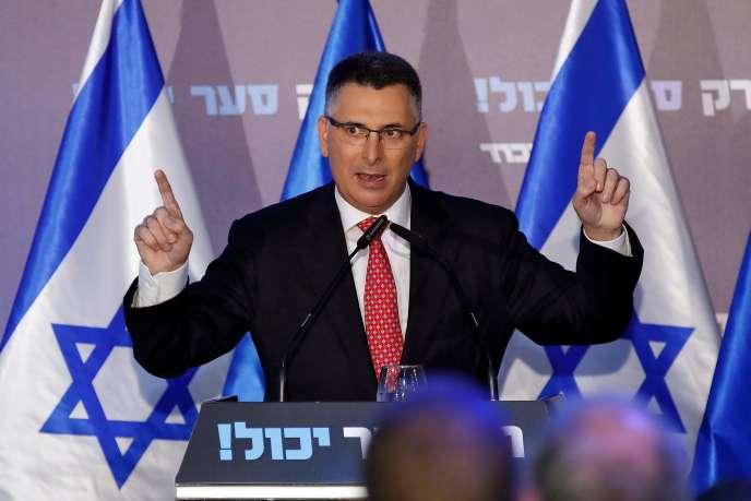 Gideon Saar lance sa campagne pour la tête du Likoud, à Or Yehuda, Israël, le 16 décembre.
