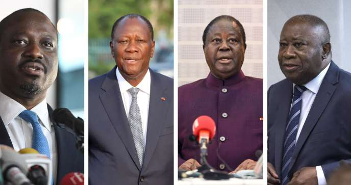 Guillaume Soro, Alassane Ouattara, Henri Konan Bédié et Laurent Gbagbo.