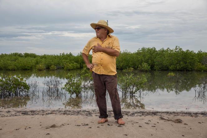Haïdar El Ali, près de Djibelor, non loin de chez lui, devant une mangrove qu'il a replantée avec l'appui de la population locale, le 13 octobre.