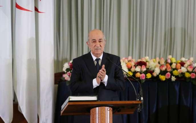 Le président algérien nouvellement élu, Abdelmadjid Tebboune, lors d'une cérémonie de prestation de serment à Alger, le 19 décembre 2019.