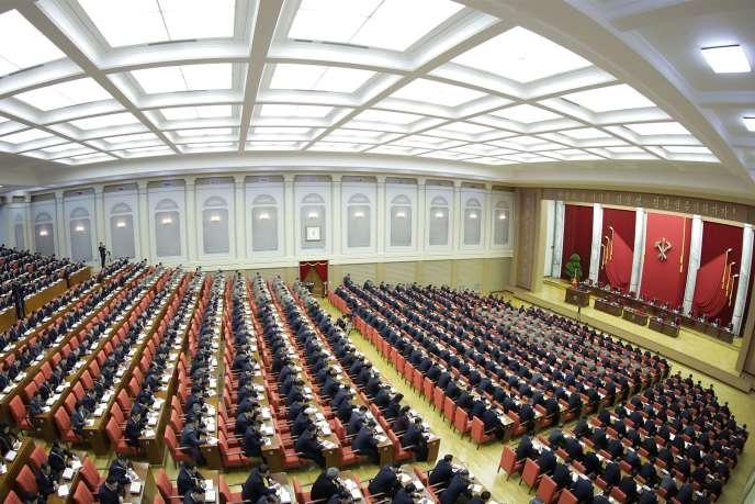 L'assemblée des dirigeants du Parti du travail, en réunion à Pyongyang, le 28 décembre. Photo fournie parl'agence officielle nord-coréenne KCNA.
