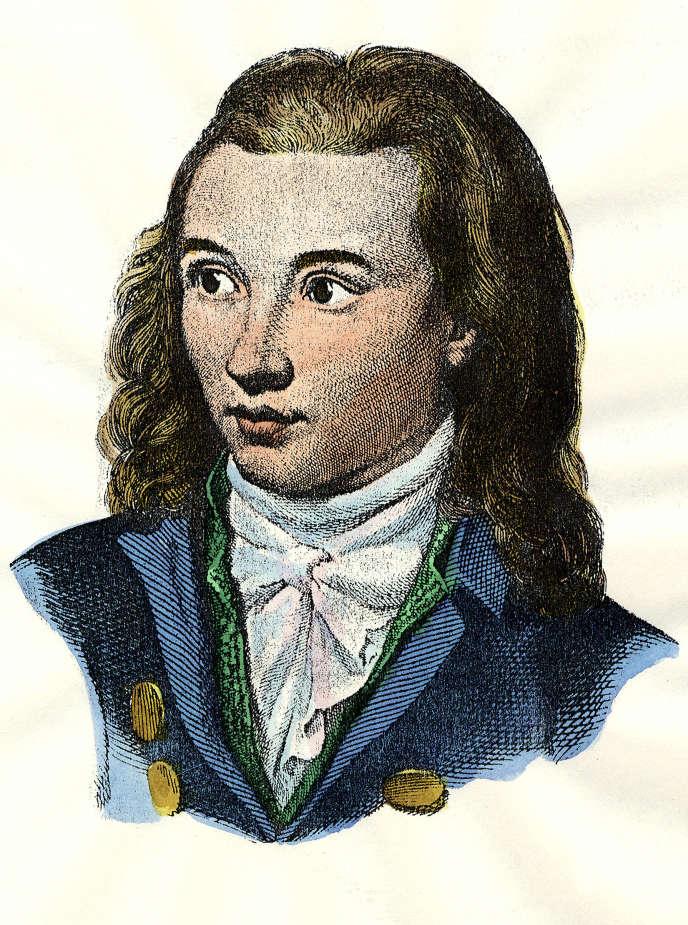 Le poète allemand Novalis (1772-1801). Version colorisée d'une célèbre gravure d'E. Eichens de 1845.