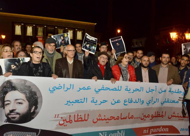 Manifestation de soutien au journaliste Omar Radi, en détention provisoire, à Rabat, le 28 décembre 2019.