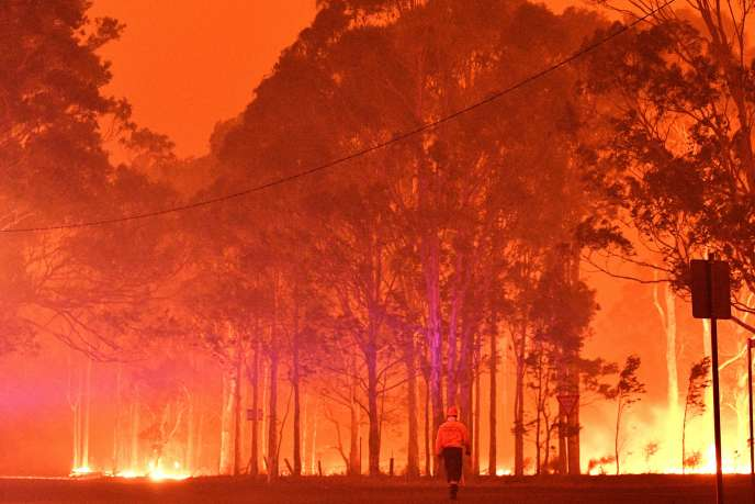 Un pompier tente d'éteindre les flammes, près de la ville de Nowra, dans l'Etat de Nouvelle-Galles du Sud (Australie), le 31 décembre.