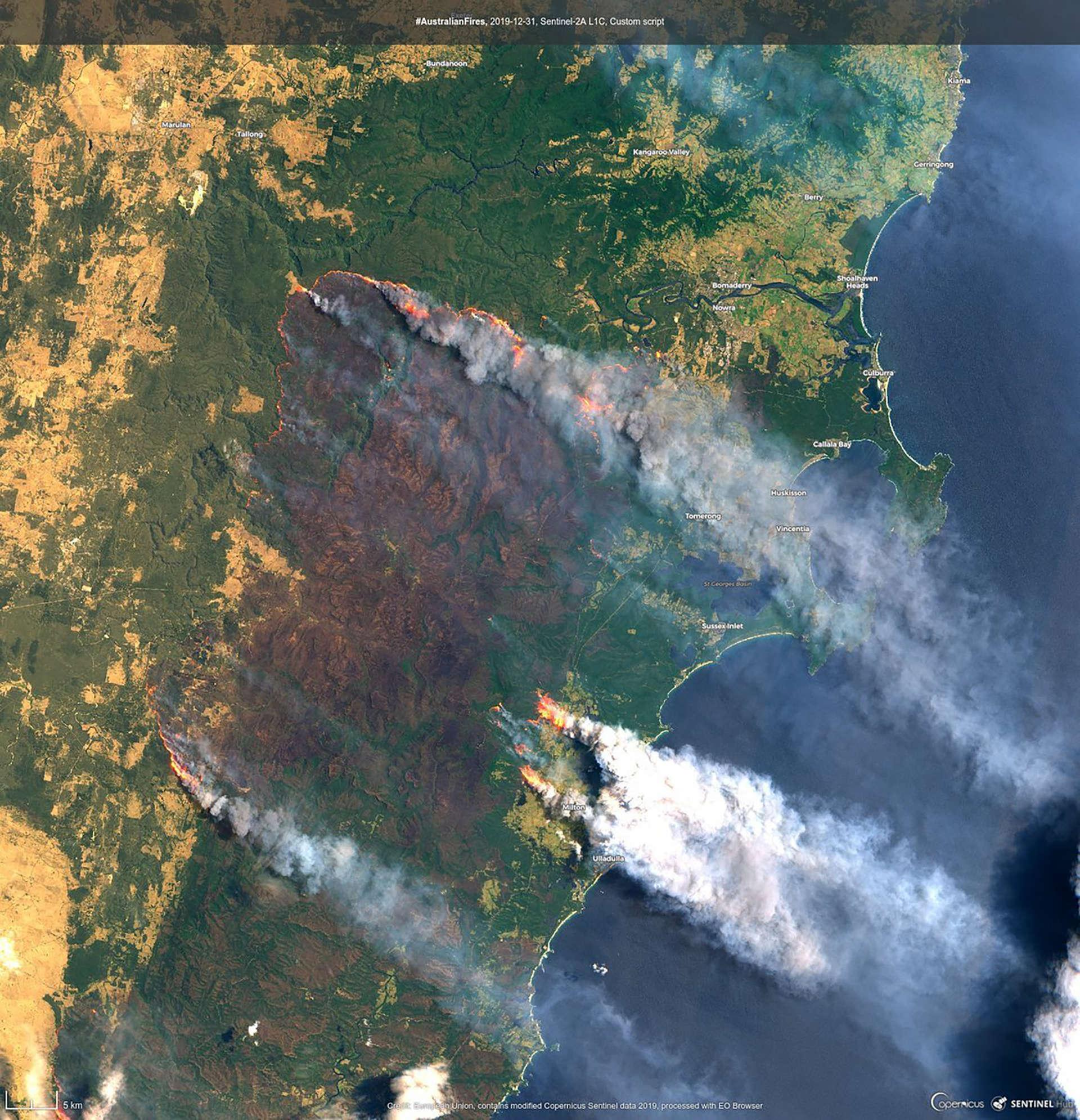Image satellite des dégâtsà Clyde Mountain, à 200 kilomètres de Sydney, le 31décembre. Cette photo couvre une zone de plus de 100 km de côté.