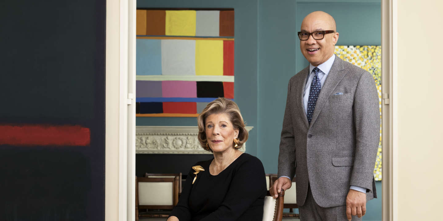Art for Justice Fund, Agnes Gund and Darren Walker are photographed for Town & Country Magazine on December 7, 2017 in New York City. PUBLISHED IMAGE. (Photo by Allison Michael Orenstein/Contour RA by Getty Images)
