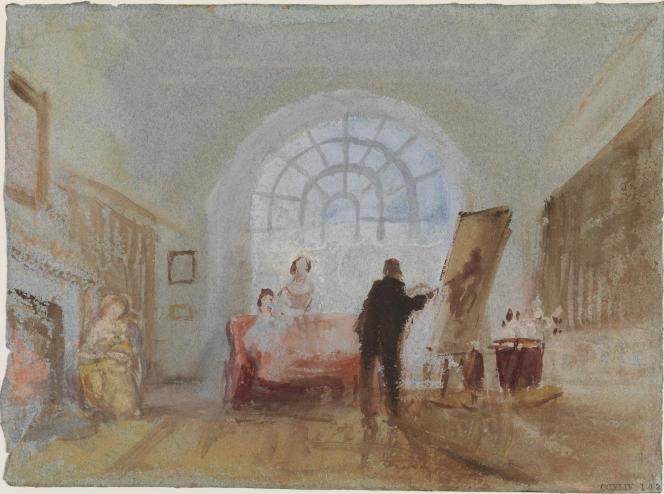 «L'Artiste et ses admirateurs», 1827, aquarelle et pigments opaques sur papier. (Tate, accepté par la nation dans le cadre du legs Turner, 1856.)