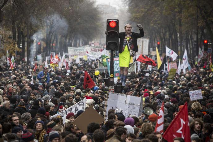 Manifestation contre la reforme des retraites, le 5décembre, àParis.