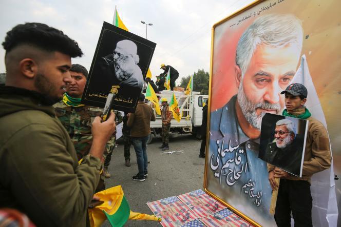 Dans le cortège funéraire du général iranien Ghassem Soleimani, à Bagdad, le 4 janvier.
