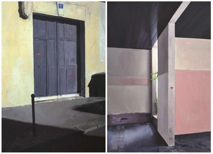 « Sans titre» (2018) et« Entre les murs» (2018), de Bilal Hamdad, huiles sur toile.