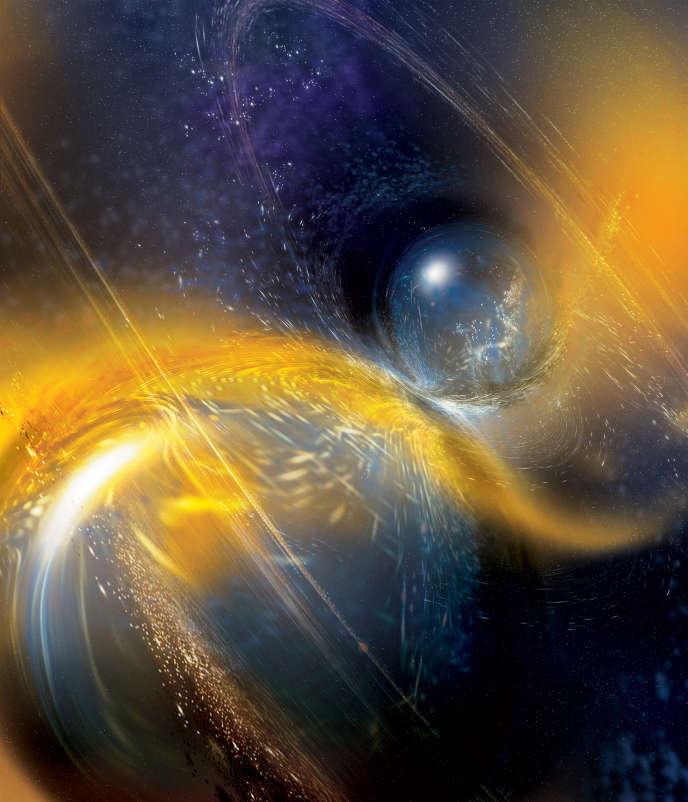 Vue d'artiste d'une collision de deux étoiles à neutrons.