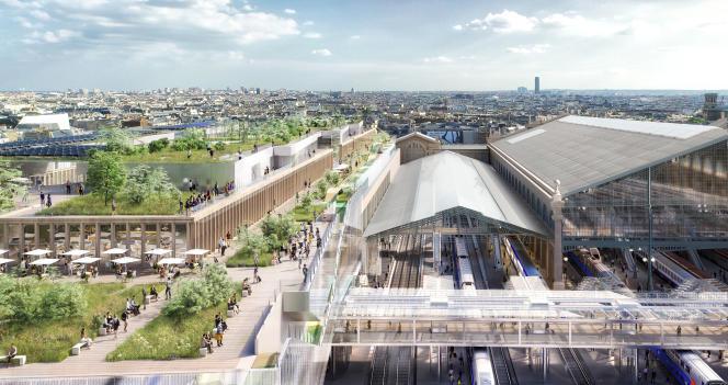 Sur l'un des côtés de la gare, le projet prévoit de construire un nouveau bâtiment coiffé de restaurants, de cafés et d'un parc urbain.