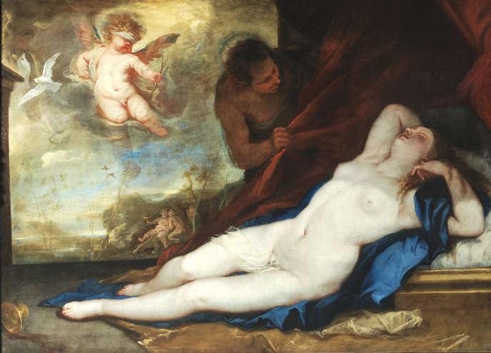 «Vénus dormant avec Cupidon et satyre» («Venere dormiente con Cupido e satiro», vers 1670), de Luca Giordano, huile sur toile. Musée de Capodimonte, à Naples.
