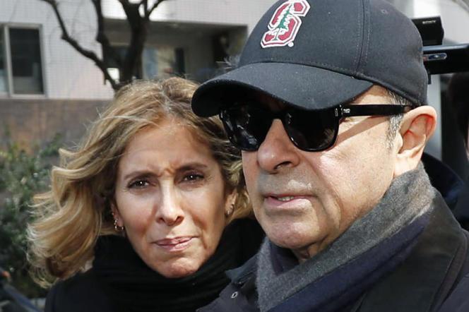 Carole et Carlos Ghosn en mars 2019 à Tokyo.