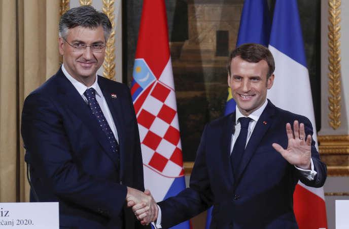 Le président Emmanuel Macron et le premier ministre croate, Andrej Plenkovic, le 7 janvier à l'Elysée.
