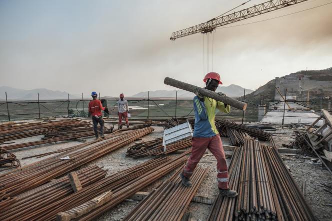 Sur le chantier du Grand Barrage de la renaissance, en Ethiopie, le 26décembre 2019.