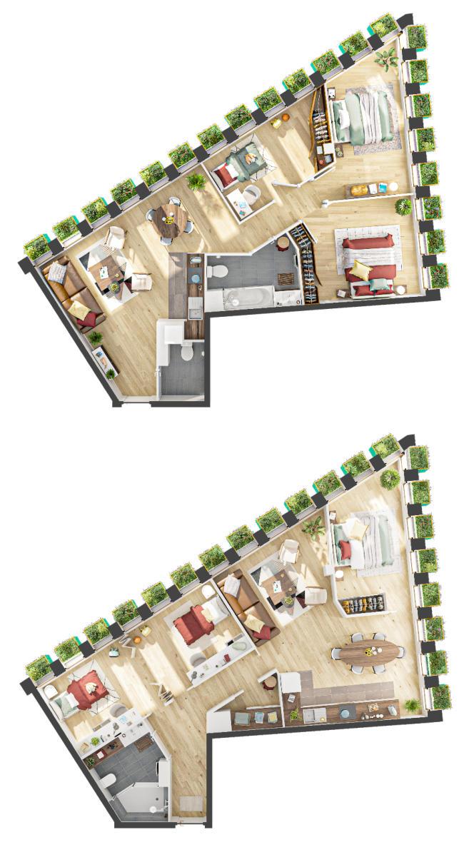 Les plans «avant (en haut)/ après» la configuration par leurs acquéreurs d'un appartementdu projet Edison Lite à Paris 13 (Lauréat de Réinventer Paris).