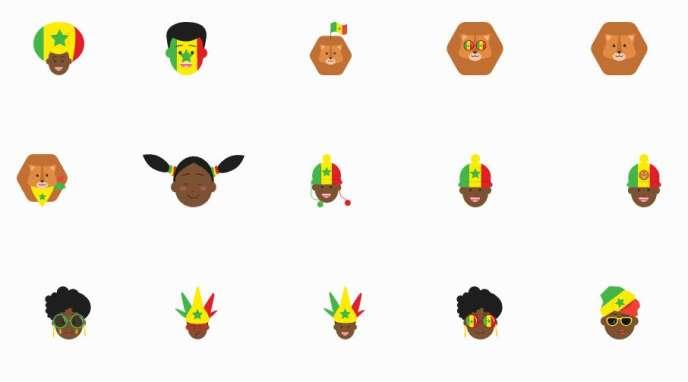 Des icônes de supporters de l'équipe de football du Sénégal, créées par les équipes de Yux Design.