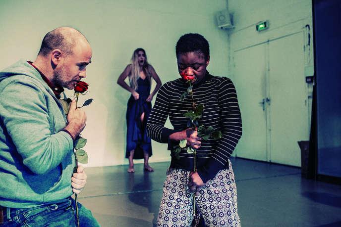 Luca Giacomoni et Sylvie Togba, lors d'une répétition de «Métamorphoses», à Paris, en décembre 2019.