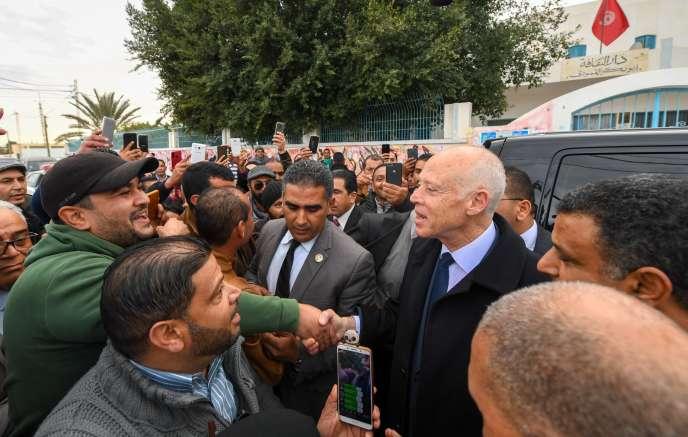 Le président Kaïs Saïed à Sidi Bouzid, berceau de la révolution tunisienne, le 17décembre 2019.