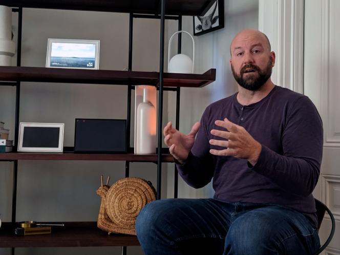 Andrew Bosworth, l'un des vice-présidents de Facebook, lors d'une interview par l'AFP, en septembre 2019 à San Fransisco.