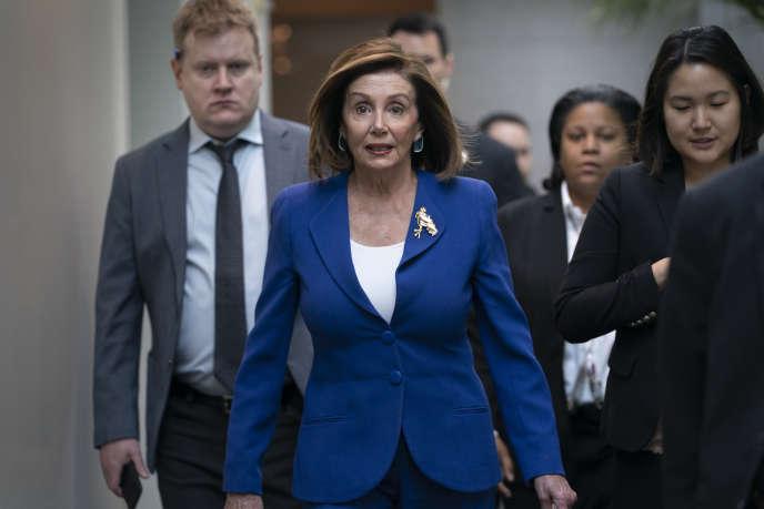 Nancy Pelosi, la présidente démocrate de la Chambre des représentants, à son arrivée au Capitole de Washington, mercredi 8 janvier.