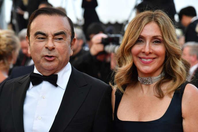 Carole Ghosn avec son mari Carlos, le 11 mai 2018 à Cannes.