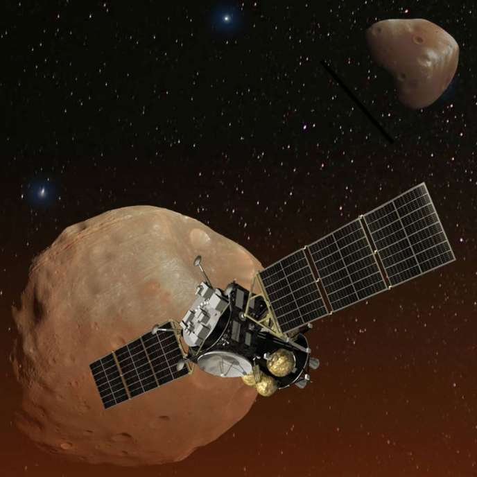 Illustration de la mission japonaise Martian Moons eXploration (MMX) pour étudier Phobos puis Deimos.