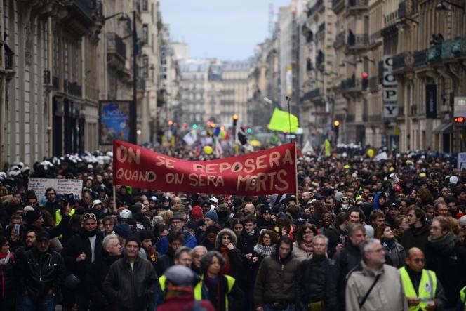 Manifestation contre la reforme des retraites à Paris le 9 janvier