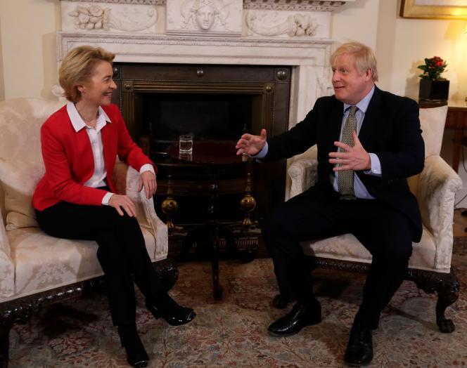 Le premier ministre britannique Boris Johnson et la présidente de la commission européenne Ursula von der Leyen le 8 janvier au 10 Downing Street.