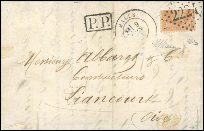 1871,lettre avec un timbre coupé horizontal. Prix de départ à 85000 euros.