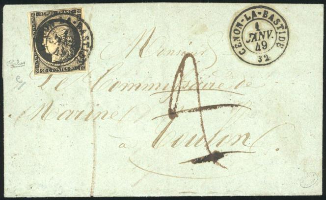 20 centimes noir «Cérès», lettre du 1er janvier 1849 de Cenon-la-Bastide (32) à destination de Toulon. Prix de départ: 18 000 euros