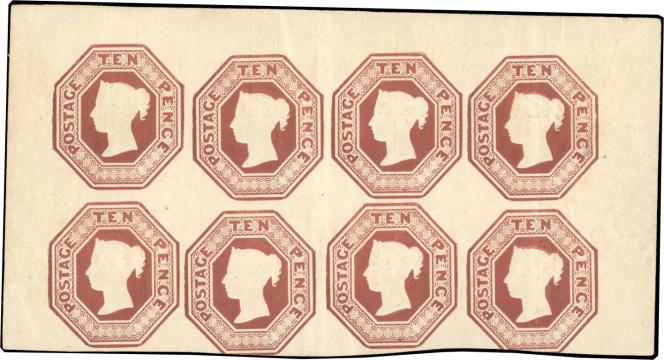 Grande-Bretagne: bloc de huit exemplaires du 10 pence brun de 1854, neufs, prix de départ à 150000 euros.