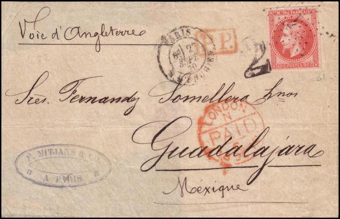 75 000 euros pour un ballon monté, une lettre affranchie d'un 80 c. lauré non dentelé, dit de l'« émission de Rothschild » de 1869-1870, à destination du Mexique (Guadalajara), au départ de Paris, le 27 septembre 1871.