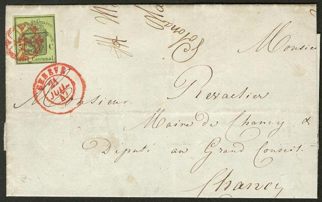 Suisse, poste cantonale de Genève, lettre oblitérée du 21 juillet 1847: mise à prix à 1200 euros.