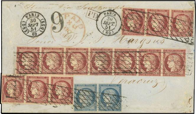 Lettre avec une bande de sept du 1 franc carmin Cérès avec tête-bêche au centre + deux bandes de trois et une paire du 25 c., au départ de Paris, du 30 septembre 1851, à destination du Mexique: 70000 euros minimum.