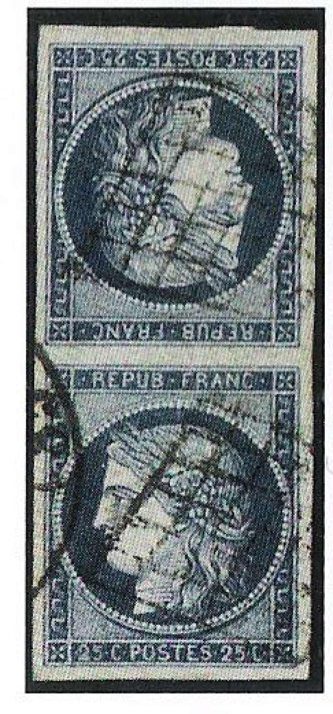 Paire verticale, oblitérée, du 25 centimes bleu Cérès de 1850, tête-bêche. Prix de départ: 8000 euros.