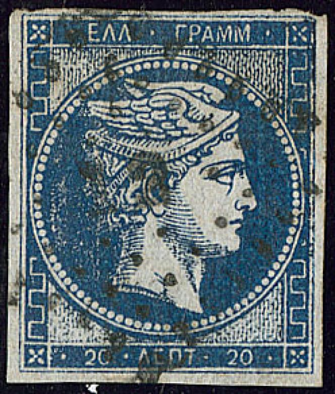 Grèce, tête d'Hermès dite du « tirage d'Athènes », 20 lepta bleu, sans chiffre au verso: 5000 euros.