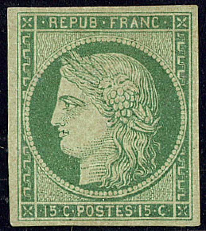 15 centimes vert au type «Cérès» de 1849, neuf: prix de départ de 8000 euros.