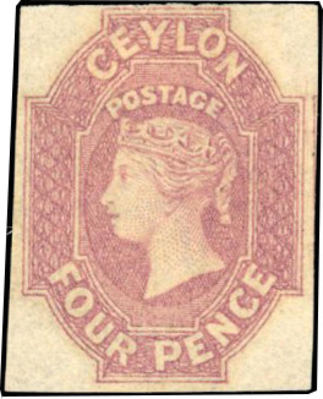 Ceylan: 4 pence rose foncé non dentelé, neuf, de 1859. Prix de départ: 100000 euros.
