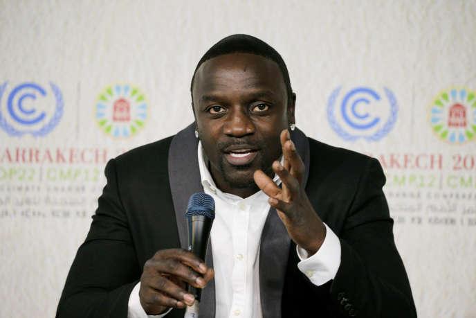 Le chanteur Akon à la COP22 de Marrakech, au Maroc, en novembre 2016.