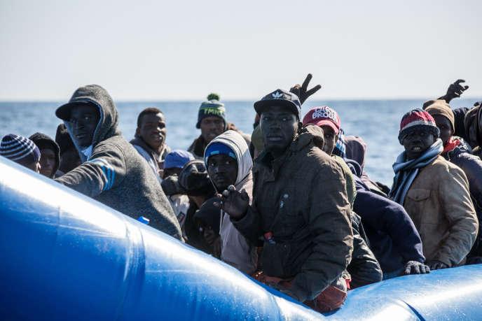 Des migrants au large de la Libye, en janvier 2019.
