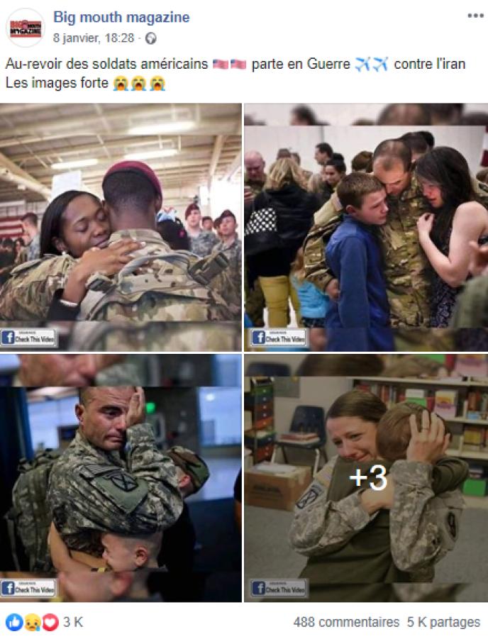 Des pages Facebook affirment que ces photos montrent des soldats américains qui partent« en guerre contre l'Iran».