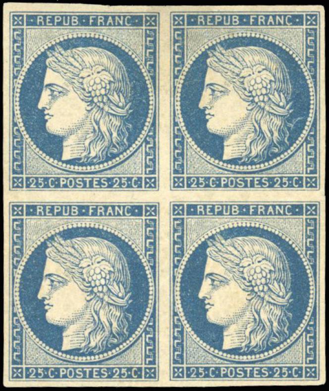 Bloc de quatre neuf du 25 centimes bleu Cérès: 30 000 euros.